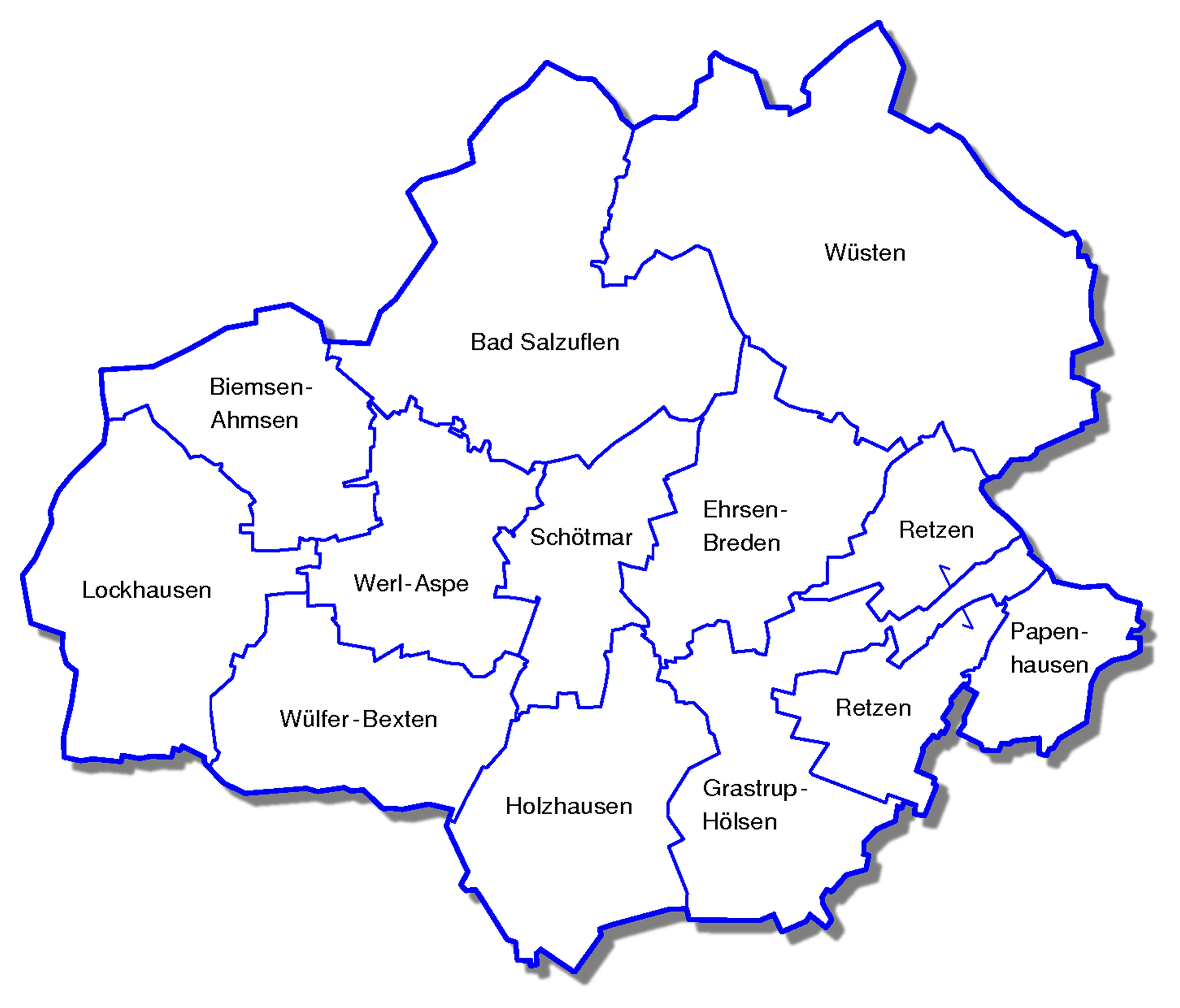 Übersicht über die Lage der Bad Salzufler Ortsteile